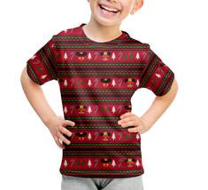 Christmas Mickey & Minnie Sweater Pattern Disney Inspired Kids Cotton Blend T-Sh - $32.99 - $35.99
