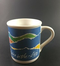 Hallmark MUGS Coffee Cup Rejoice In The Lord White Blue Green Cup 8 Oz  - $11.83