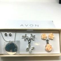 Avon Earrings Pendants 6-Piece Gift Set Botanical Flowers Butterflies Silvertone - $15.83