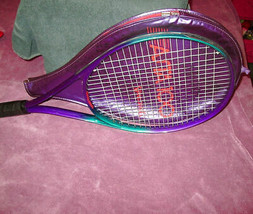 """Spalding Asta 100 Tennis Racket Vintage Purple & Teal With Cover 27"""" - $23.97"""