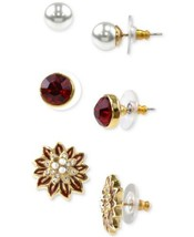 Holiday Lane Gold-Tone 3-Pc. Set Multi-Stone Stud Earrings – Gold - $16.83