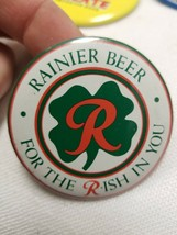 Rainier Beer Pinback Pin Button 4 leaf clover Seattle Wa  St Paddy's day... - $12.55