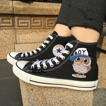 Converse Black All Star Shoes Design Cartoon Boy Girl Owl Canvas Sneakers Unisex - $119.00