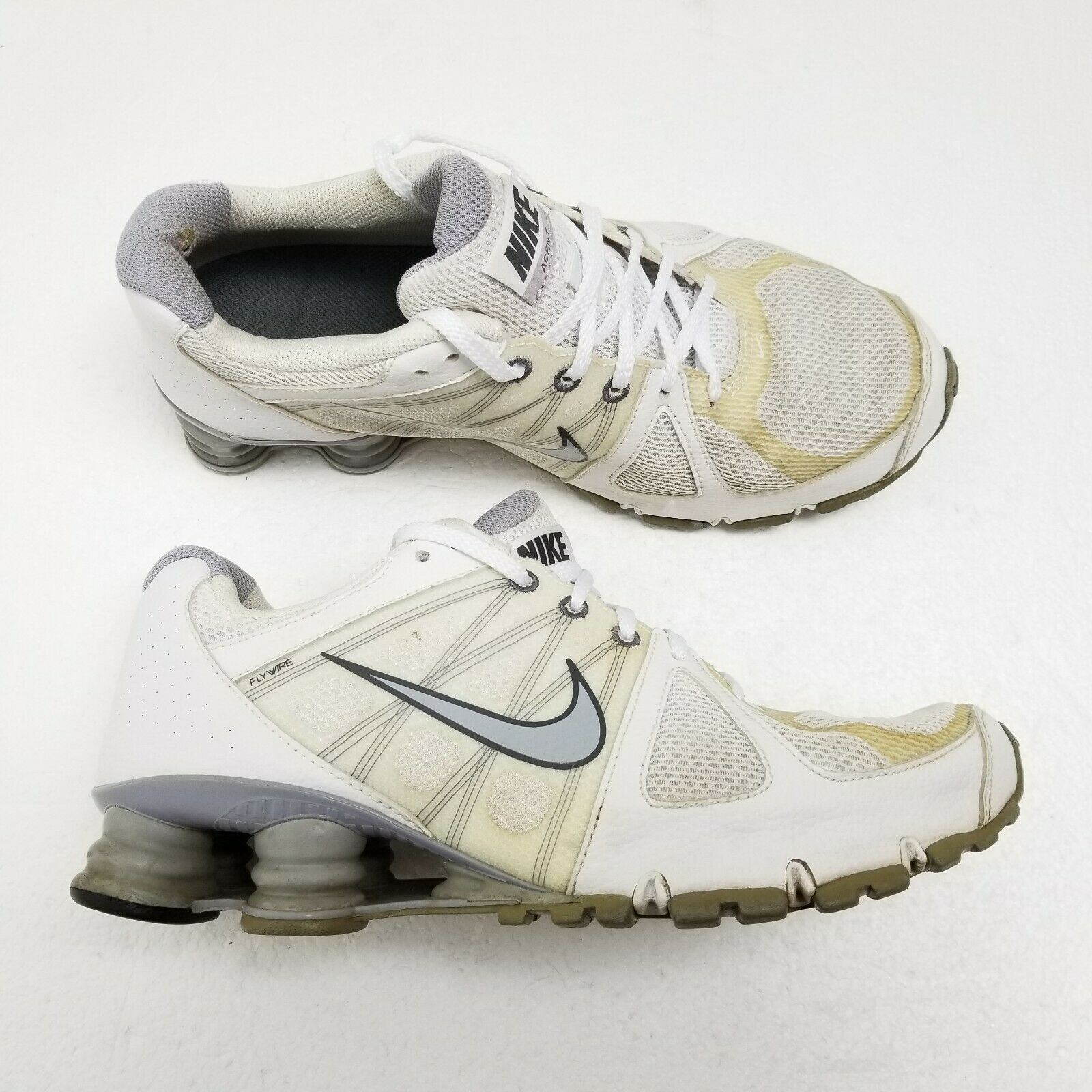 Primary image for Vintage Nike Shox Agent Flywire Shoes White Pink  Womens 9.5 438683-100 RARE