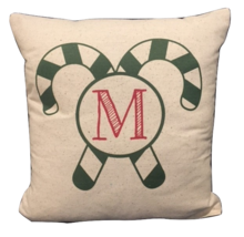 Candy Cane Pillow rustic Christmas pillow monogram green red customize - $20.00