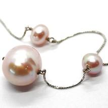 Necklace Lariat White Gold 750 18K, Pearls Purple 16 mm, Pendant Chain Venetian image 2