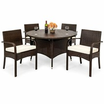Modern Dining Set of 5 Pcs Outdoor Indoor Garden Furniture Wicker High Q... - $436.48