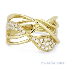 0.36 ct Round Cut Diamond Right-Hand 14k Yellow Gold Overlap Swirl Fashi... - €970,22 EUR