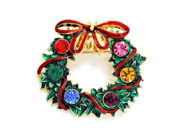 Multicolor Crystal Enamel Christmas Wreath Brooch - $11.95