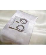 "Charter Club Silver Tone 1"" Scalloped Hoop Earrings L622 $28 - $10.55"