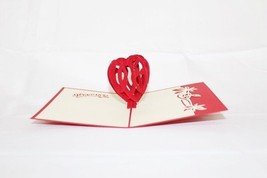 Red Heart Valentine Pop Up Greeting Card Handmade Happy Birthday Anniver... - $4.99