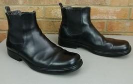 Mens Size 10 D BANANA REPUBLIC Chelsea Black Leather Ankle Short Round T... - $53.96