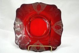 Paden City 1930 Springtime AKA Diana Ruby #890 Square Salad Plate - $41.57