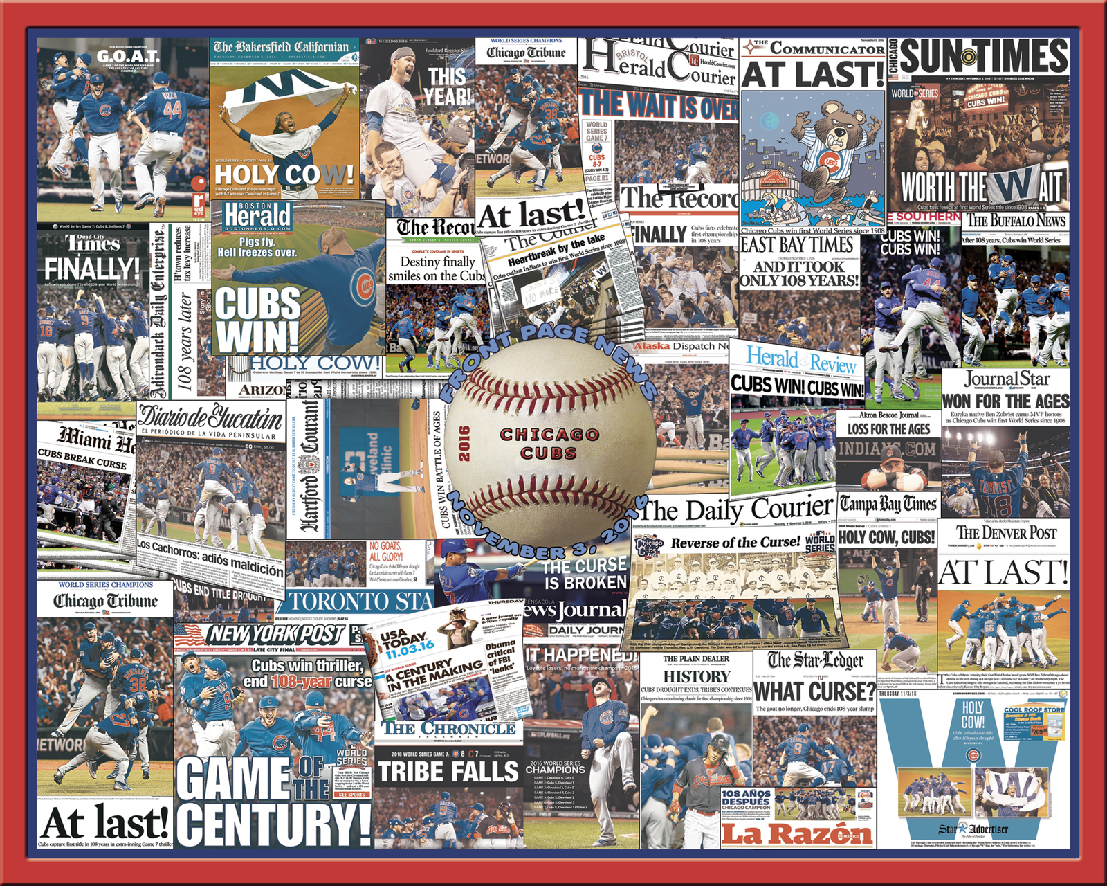Chicago Cubs 2016 World Series Newspaper Collage Print Art-Front Page Headlines