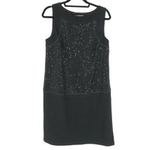 LOFT Womens Size 10 Shift Dress Wool Blend Black Sequins Sleeveless Clas... - $32.71