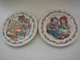 Pair of Oneida De Luxe Fairy Tale Children Plates- Raggedy Ann & Goldilocks - $9.45