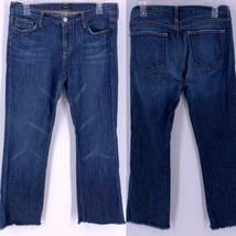 J. Crew Womens Boot Crop Jeans Sz 31 Raw Frayed Hem Medium Wash Mid to H... - $34.60