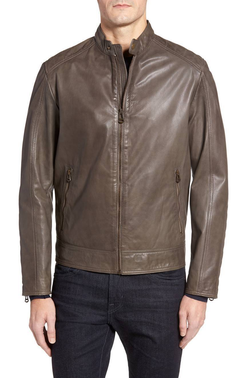 Lower Arm Padded Men Genuine Soft Lambskin Leather Jacket Slim fit Biker jacket