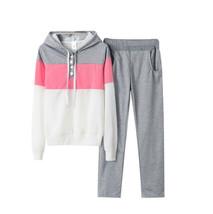 Women's Ziranmei Two-piece Sport Sweatshirt Outfit Wear Pink Grey Tracksuit