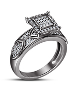 Round Cut White Diamond 14k Black Gold Plated 925 Silver Women's Engagem... - $86.99