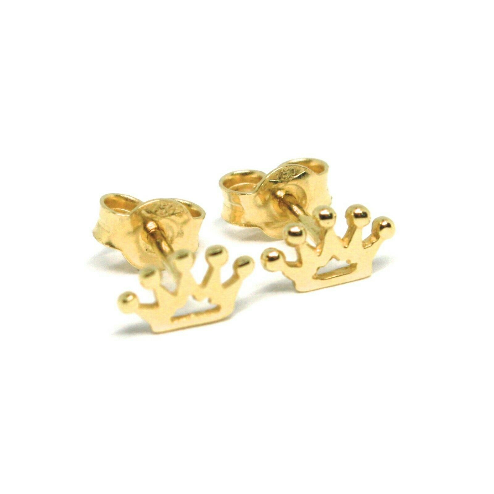 18K YELLOW GOLD EARRINGS, FLAT MINI CROWN, 0.2 INCHES, BUTTERFLY CLOSURE