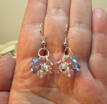 Blue and Pink crystal bead Cluster Earrings Petite HC - $10.60