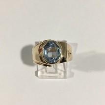 10k Yellow Gold Birthstone Ring With Aquamarine March Stone - $214.12