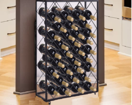 Floor Wine Rack Stand Sturdy Metal 32 Bottles Bordeaux Stylish Gifts Lea... - $79.10
