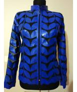Blue Leather Leaf Jacket Women All Colors Sizes Genuine Short Zip Lightw... - $115.00