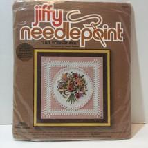 "Lace Nosegay Pink Jiffy Needlepoint Kit 5"" x 5"" - $8.79"