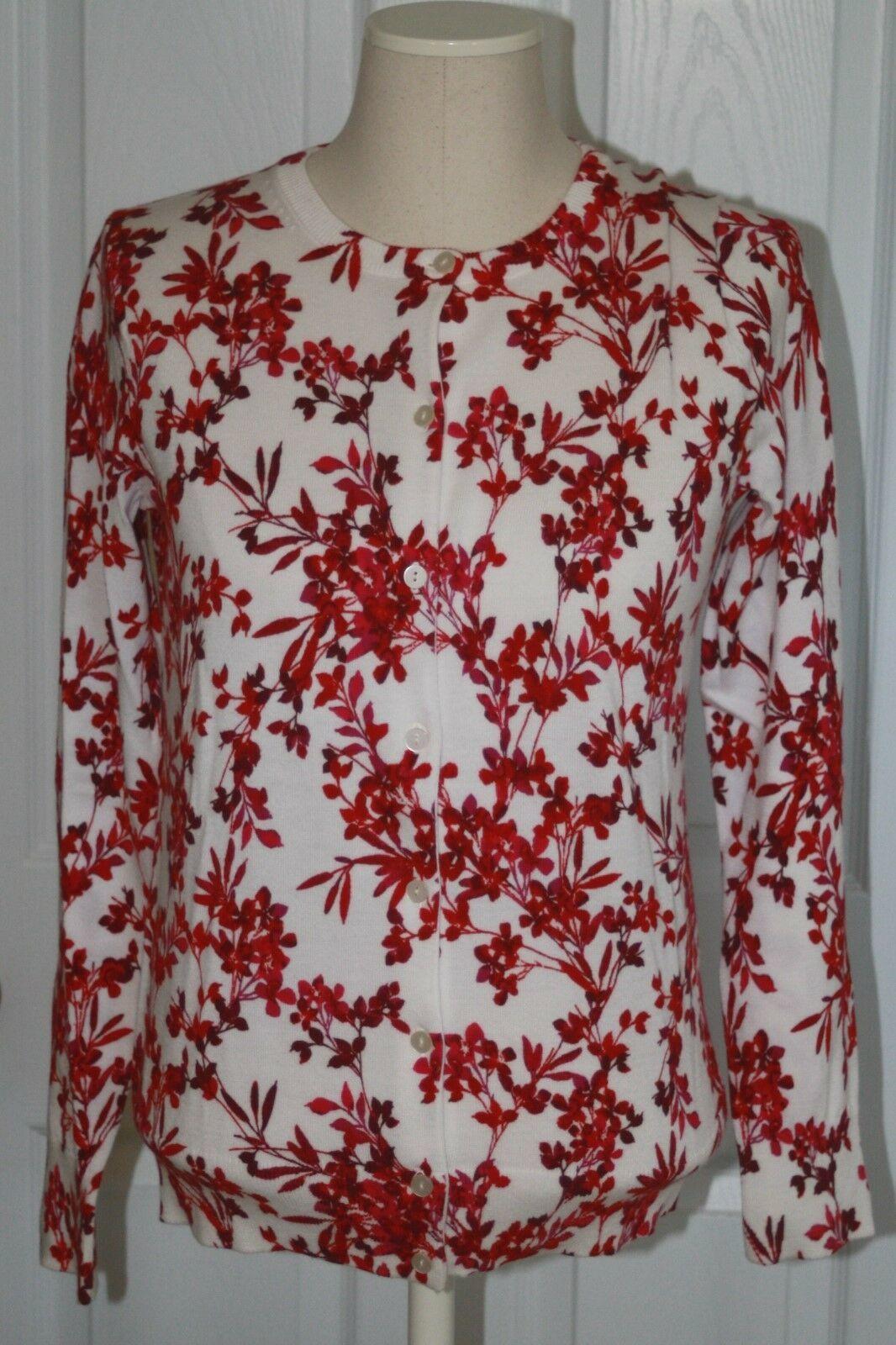 Lands End Women's Supima Print Cardigan Sweater Brandywine Floral New - $29.99