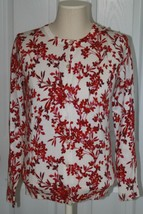 Lands End Women's Supima Print Cardigan Sweater Brandywine Floral New - $29.99