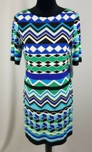 Eliza J women 8P Jersey shift dress 3/4 sleeve above knee Retro - $64.35