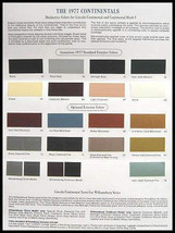 1977 Lincoln Continental Color Selection Paint Chip Brochure - $7.87