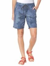 Jack Wolfskin Women's Pomona Palm Ouick Dry Bermuda Shorts Dusk Blue US ... - $25.24
