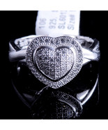 Ladies 14K White Gold Fn Lab Diamond Cluster Heart Enagement Ring Band V... - $59.99