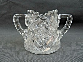 Vintage heavy etched crystal glass sugar bowl Mid Century Art Deco - $36.00