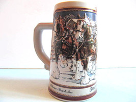 BUDWEISER Holiday Clydesdale Hitch Christmas Beer Stein 1989 Collectors ... - $11.45