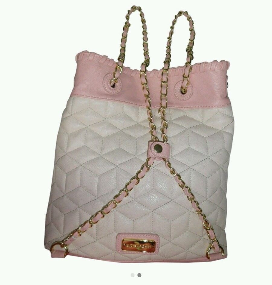 NWT Big Buddha woman's purse handbag backpack style. Gold chain cream pink blush image 2