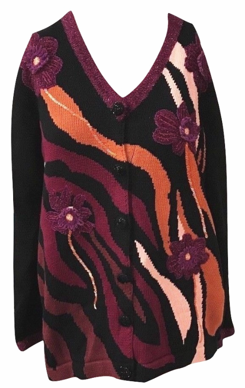 Primary image for Storybook Knits Cardigan Sweater Size M Black FLORAL HSN Art-to-Wear