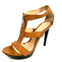 FENDI Brown Leather Open Toe Front Zip Platform Stiletto Heels Size 39 /... - $188.09
