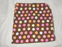 BabyBoom Flannel Baby Girl Swaddle Receiving Blanket Brown Pink Orange Dots - $14.84