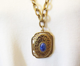 AVON Lapis Blue CAB Gold Plate Filigree Locket Pendant Cable Chain 1970s... - $18.80