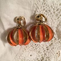 Chunky Vintage 70s Orange Enamel Caged Earrings - $28.00