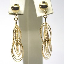 18K YELLOW GOLD PENDANT EARRINGS, MULTIPLE WORKED OVALS, SPIRAL 4cm, 1,6 INCHES  image 2
