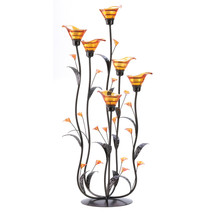 Metal Candle Holder, Calla Lily Flower Glass Candle Holder Set Metal Stand - $49.66