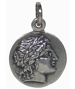 Chalkidian League God Apollo & Lyre Small Silver Pendant - Olympian God - $29.90