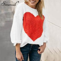 Simenual Heart sweater autumn winter clothing 2018 fashion slim women sw... - $39.49