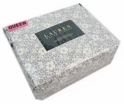 Ralph Lauren Gray and Cream Floral Cotton Sheet Set Queen - $108.00