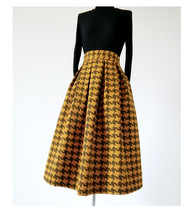Winter Yellow Houndstooth Skirt Women Houndstooth Midi Pleated Skirt Wool Plus image 2
